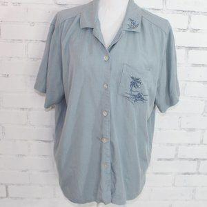 Teddi Blue Button Up Palm Tree Top // Summer Top